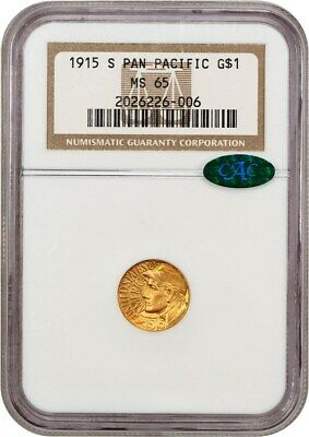 1915-S Panama-Pacific G$1 NGC/CAC MS65 - Popular Gold Commemorative Issue