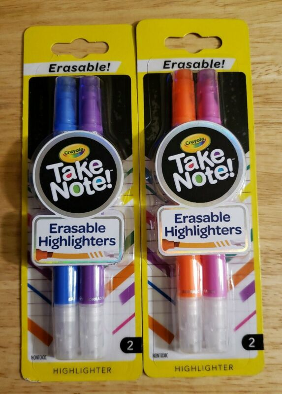 (2 Packs ) NEW Crayola Take Note Chisel Tip Erasable Highlighters, Age 6+