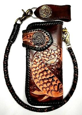 Biker Wallet motorcycle trucker Floral evil Demon Tattoo tooled engraved Leather, used for sale  Shipping to India