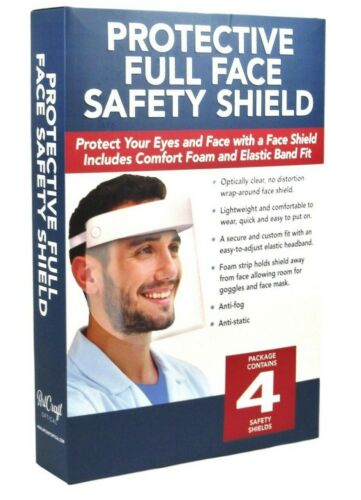 Art Craft Optical PROTECTIVE FULL FACE SAFETY SHIELDS Pack of 4 New in Box