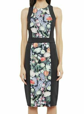 BNWT TED BAKER Black Floral Midi Dress Size 3 M 10-12