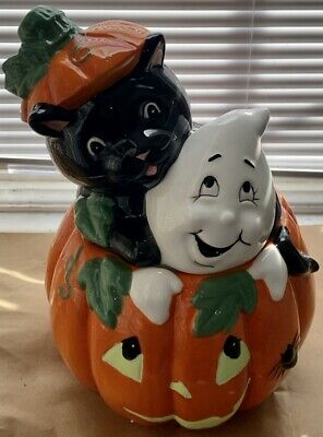 DAVID'S COOKIES Halloween Pumpkin Cookie Jar w/BLACK CAT & GHOST Ex