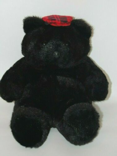 """Vintage Luvables Large Sitting Black Plush Toy Bear With Red Plaid Hat 22"""""""