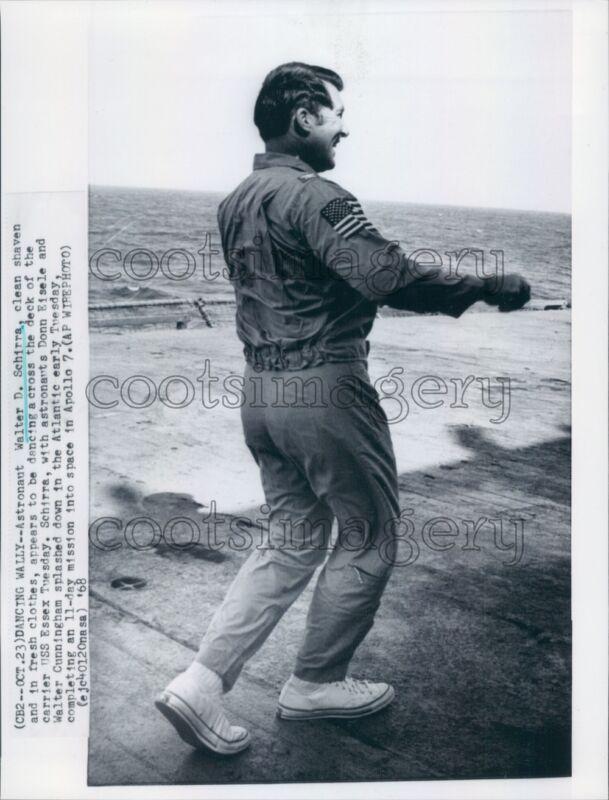 1968 Apollo 7 Astronaut W Schirra Dances Across Deck of USS Essex Press Photo