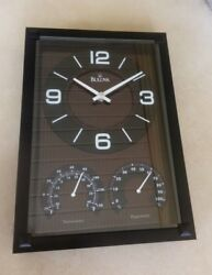 Bulova Black Finish Wall Clock with Thermometer Hygrometer C3732 Brand New!