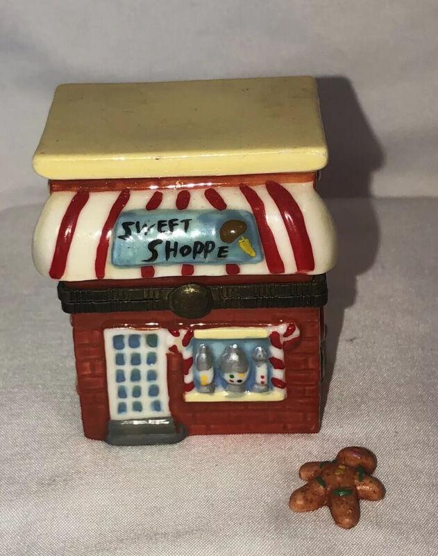 Vintage Trinket Box Figurine Porcelain Sweet Shop W/gingerbread Man Trinket Nice