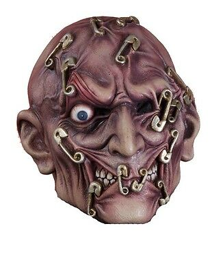 Pin Head Mask (Safety Pins Thru Head Mask Bobby Pin Through Face Latex Costume Adult Mens)