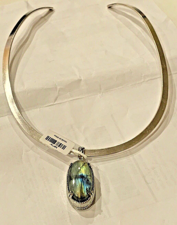 Malagasy Labradorite Pendant 22.00 CTW In Stainless Steel Platinum Bond Brass 20 - $18.65