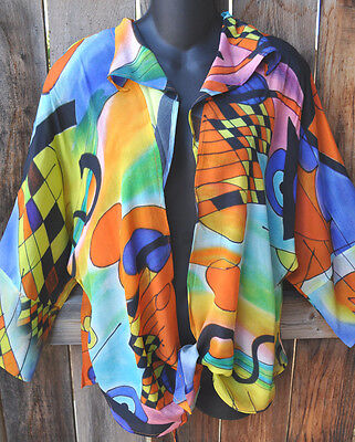 Dilemma Hand Painted Kandinsky Inspired Silk Art To Wear Tie Shirt Tunic Os