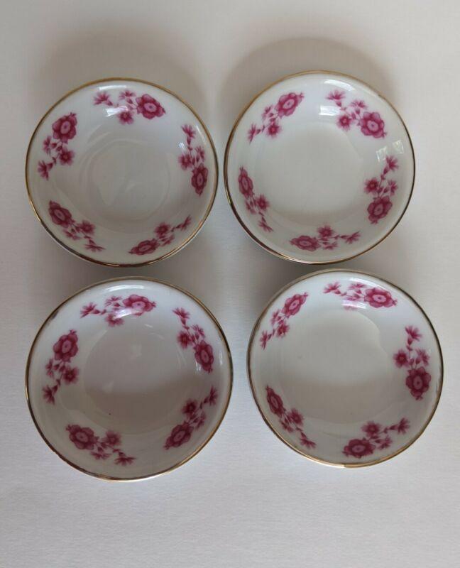 Vintage White Pink Floral Butter Pats Set Of 4
