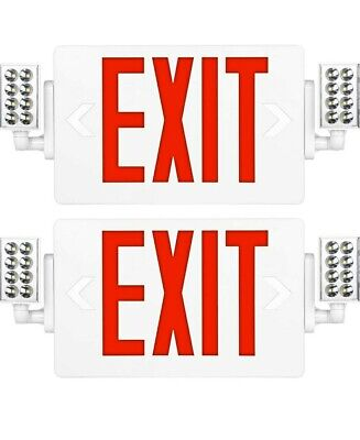 2 Pack-ultra Slim Red Exit Sign 120-277v Double Face Led Combo Emergency Light