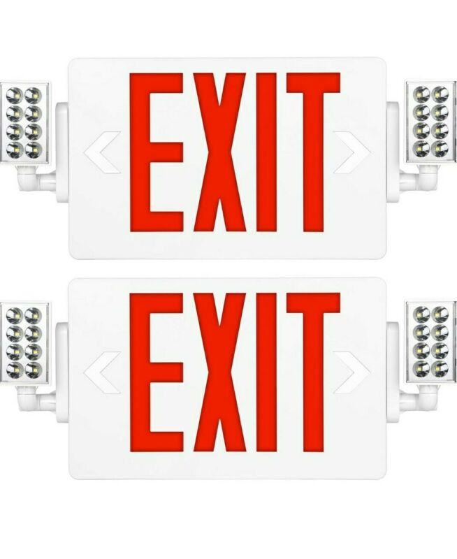 2 Pack-Ultra Slim Red Exit Sign, 120-277V Double Face LED Combo Emergency Light
