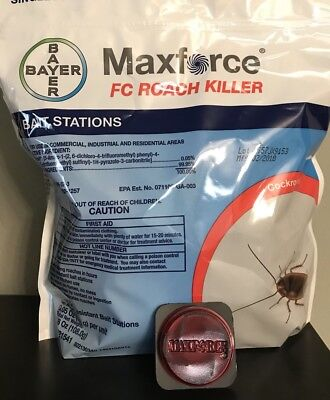 12 Maxforce FC Roach Bait Stations Bayer Roach Control FREE SHIPPING Roach Bait Stations