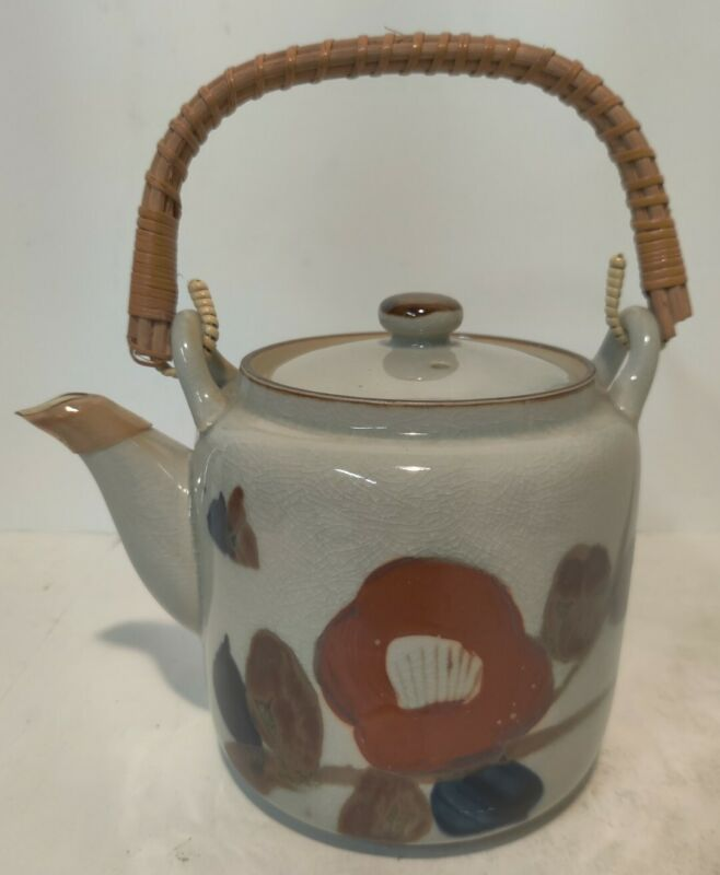 Vintage Tea Pot With Bamboo Wrapped Handle, Japan