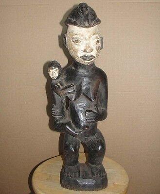 Big African Yoruba Ibeji Maternity Fertility Statue Figure w/ Baybe Africa Punu for sale  New York