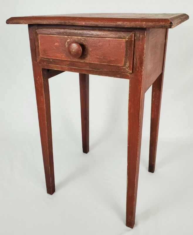 Vintage Farmhouse End Table Nightstand Primitive Rustic Painted Antique