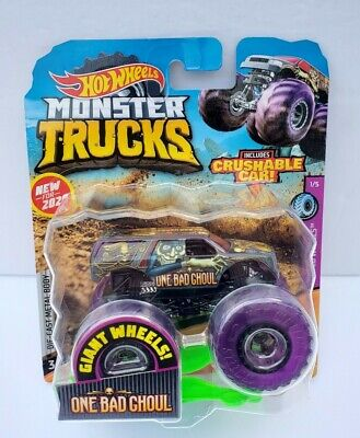 Hot Wheels Monster Trucks One Bad Ghoul with Tinted Wheels & Crushable Car 1:64