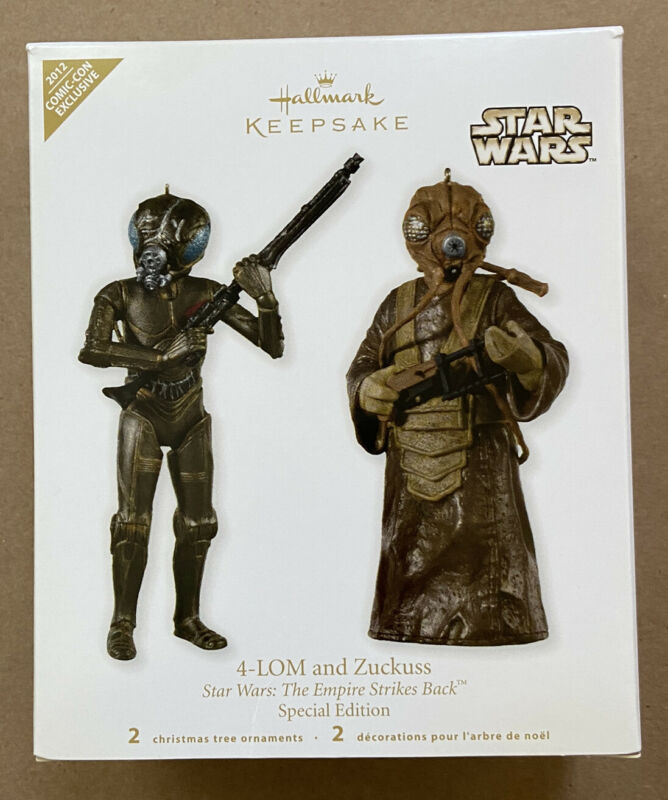 Hallmark Star Wars Keepsake 2012 NYCC 4-Lom And Zuckuss Ornaments