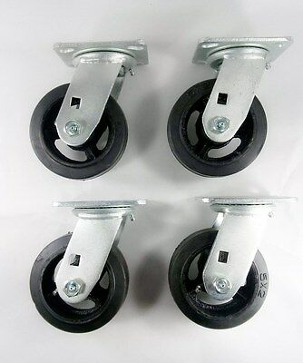 "4EA 6/"" x 2/"" Rubber On Cast Iron Caster Swivel"