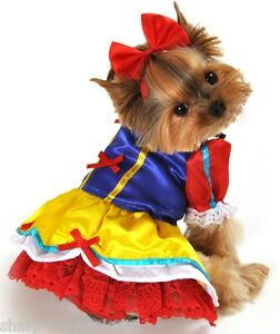 Pet-Dog-Cat-Snow-White-Halloween-Gift-Fancy-Dress-Costume-Outfit-Clothes-XS-XL