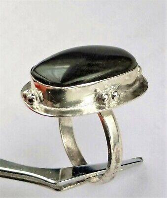 T57_Bague Pierre Naturel OBSIDIENNE DORÉ NOIR_ARGENT 925 Plaqué_Silver PL Ring 8