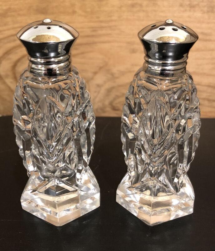 Vintage Antique Napco Crystal Salt and Pepper Shakers JAPAN