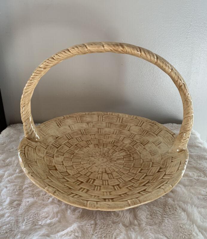 Rare Beautiful Vintage Atlantic Mold Weave Large Basket TAN Hand Painted