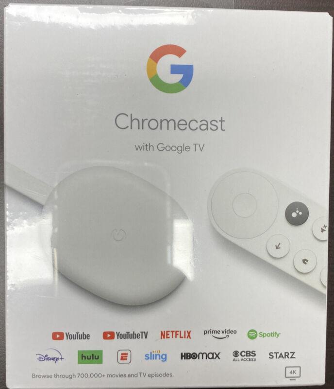 *Brand New* Google Chromecast 4K with Google TV Snow - 4K HDR Streaming @ 60fps