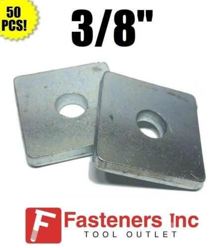"""(QTY 50)  #4601 P1063 3/8"""" X 1-5/8 X 1-5/8 Square Washers for Unistrut Channel"""