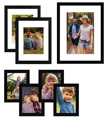 Gallery Wall Photo Picture Frame Set 12×16 9×12 6×8 Black 7 Pack Frames