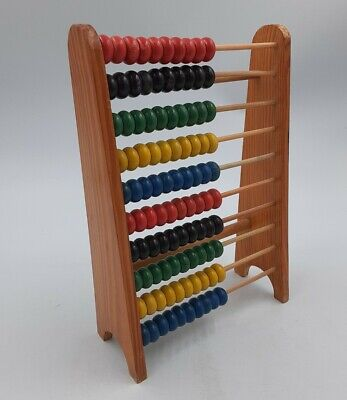 Classic Wooden Abacus Counting Frame Vintage 70s Made Ancient Style Calculator