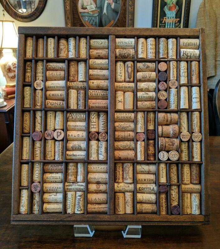 VTG Hamilton Printer Type Set Drawer Wood Cabinet Tray Display WINECORK BOARD ❤️