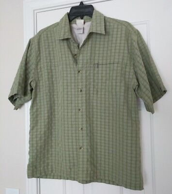 The North Face Men's Green Plaid Shirt Short Sleeve Button Up Zip Pocket Small