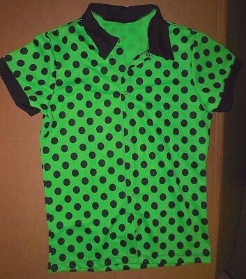 NWT Boys/ Mens Snapfront Dance Costume shirt Lime Black Dots Collar 50's feel  - Boys 50s Costume