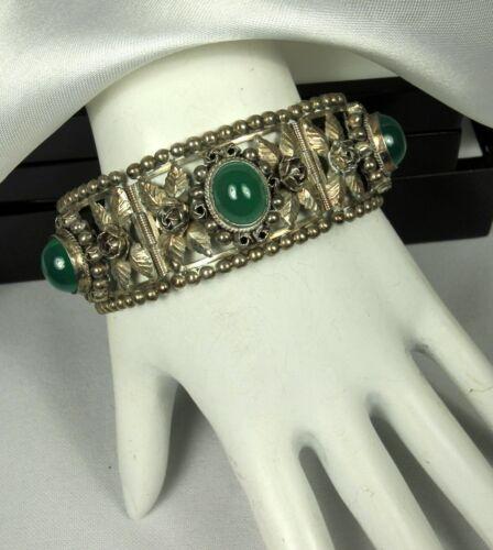 CELLINI Bracelet 1900s Florence CHRYSOPRASE 800 Silver ITALIAN RENAISSANCE Fab!