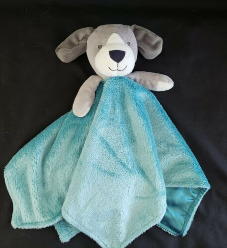 Carter s Teal Blue/Gray Plush Puppy Dog Security Blanket - $12.99