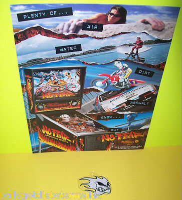 PINBALL MACHINE NOS FLYER + NOS PLASTIC PROMO FOR 1995 WILLIAMS NO FEAR GAME