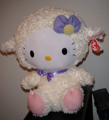 """Ty Beanie Buddy ~ HELLO KITTY 12"""" Lamb Outfit Plush ~ MWMT'S ~Perfect for Easter"""