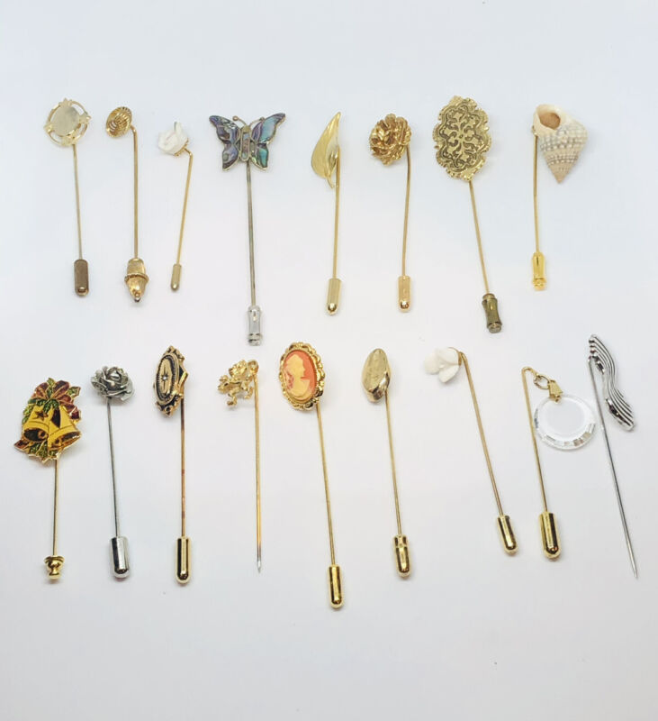 Lot Of 17 Pieces Vtg Modeling Stick Hat Pin Butterfly Cameo Christmas Roses Lion