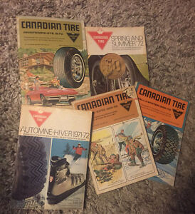 5 Old Canadian tire catalogs 1960's 70's