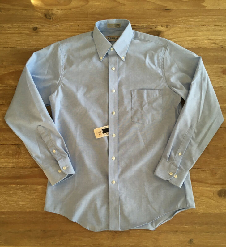 Vintage Mens Single Needle Blue Oxford Long Sleeve Button Down Shirt - 15 32/33