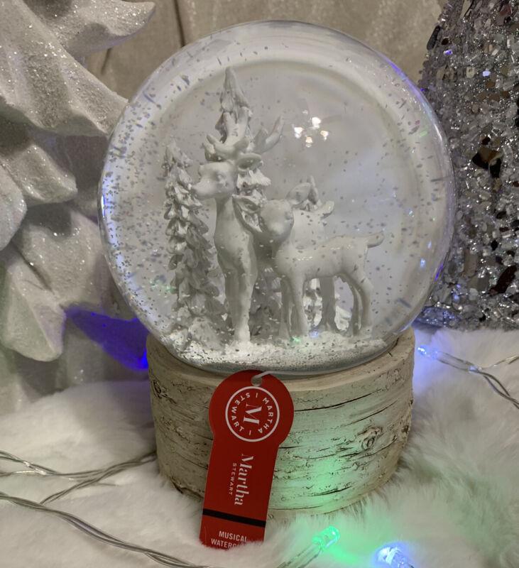 Christmas Winter Martha Stewart Deer & Snow Water Globe Musical New
