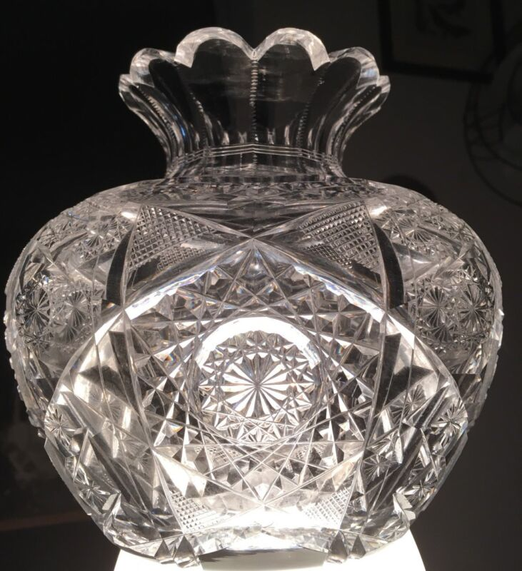 VERY RARE HOARE & CO.?AMERICAN BRILLIANT CUT GLASS FLOWER CENTER EXQUISITE!
