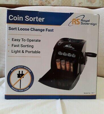 Royal Sovereign Coin Sorter Qs-1 Manual Hand Crank One Row Money Counter Niob