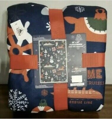 DISNEY CRUISE LINE DCL VERY MERRYTIME CHRISTMAS FLEECE LINED THROW BLANKET NEW