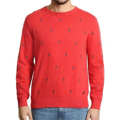 Nautica Men's Sweater Red Size Medium M Crewneck Embroidered-Logo $89 080