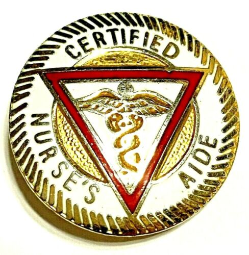 Vtg Certified Nurse's Aide Lapel Pin, Caduceus, Medical Professional - Lovely!