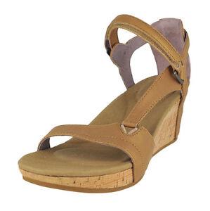 51e532cb147c Teva Capri Wedge Pearlized Tan Strappy Leather Womens Sandals Size US 9 uk 7