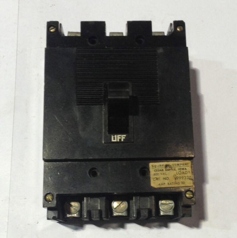 "FY-14020-B Square D Circuit Breaker 1 Pole 20 Amp 277V /""2 YEAR WARRANTY/"""