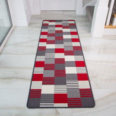 Red Stripe Teppich (Red Vibrant Patchwork Stripe Non Slip Kitchen Rug Mat Durable Hallway Runner )